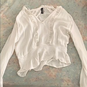 Tops - white elegant laced long sleeve